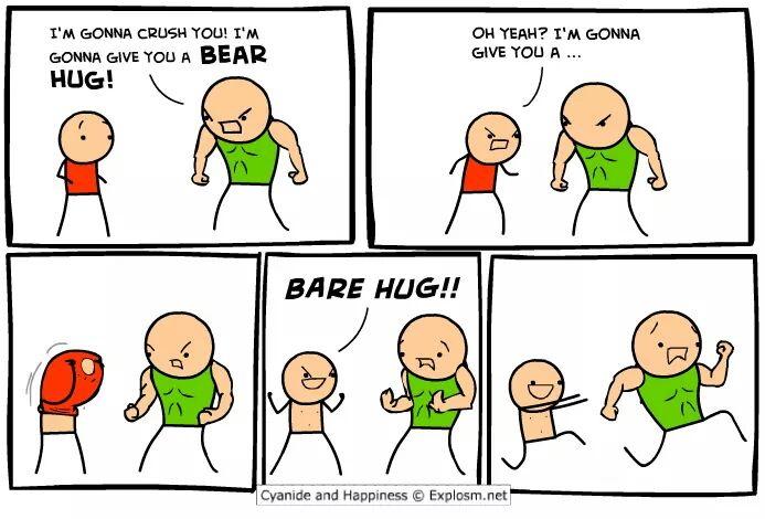 Cyanide & Happiness bear hug