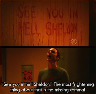 Big Bang Theory missing comma