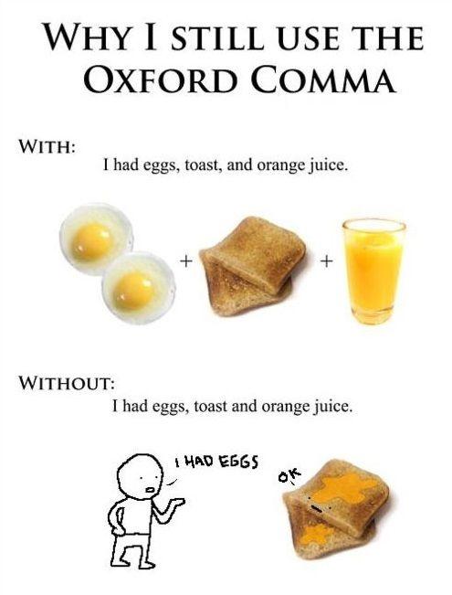 Oxford comma example orange juice